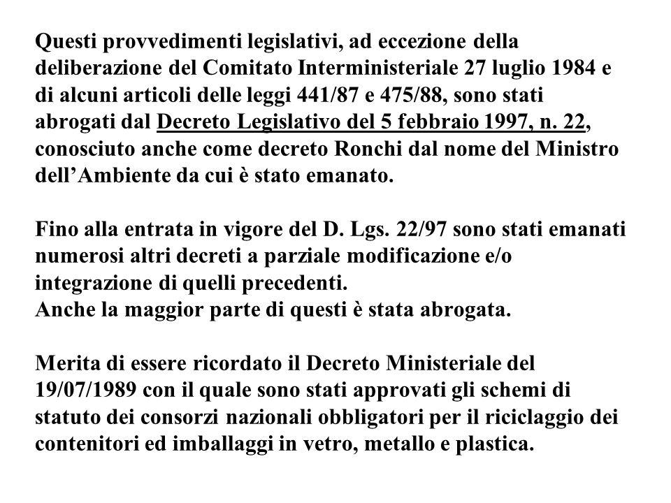 Questi provvedimenti legislativi, ad eccezione della deliberazione del Comitato Interministeriale 27 luglio 1984 e di alcuni articoli delle leggi 441/87 e 475/88, sono stati abrogati dal Decreto Legislativo del 5 febbraio 1997, n.