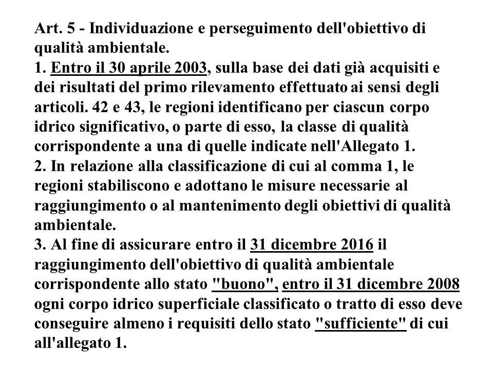 Art. 5 - Individuazione e perseguimento dell obiettivo di qualità ambientale.