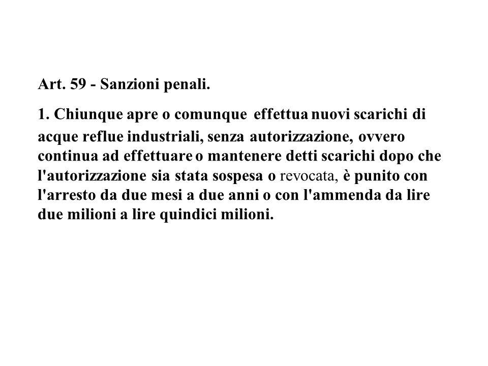 Art. 59 - Sanzioni penali. 1.