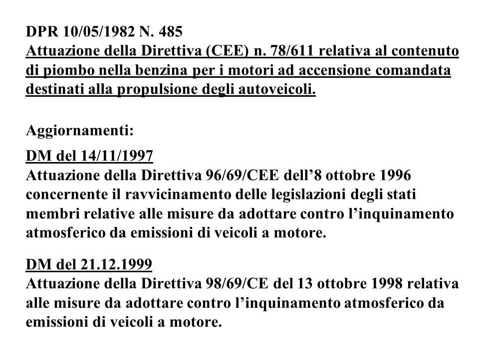 DPR 10/05/1982 N. 485 Attuazione della Direttiva (CEE) n