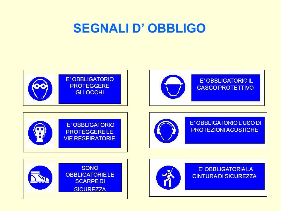 SEGNALI D' OBBLIGO E' OBBLIGATORIO IL CASCO PROTETTIVO