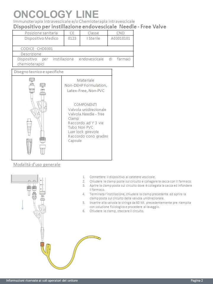 ONCOLOGY LINE Immunoterapia intravescicale e/o Chemioterapia intravescicale. Dispositivo per instillazione endovescicale Needle - Free Valve.