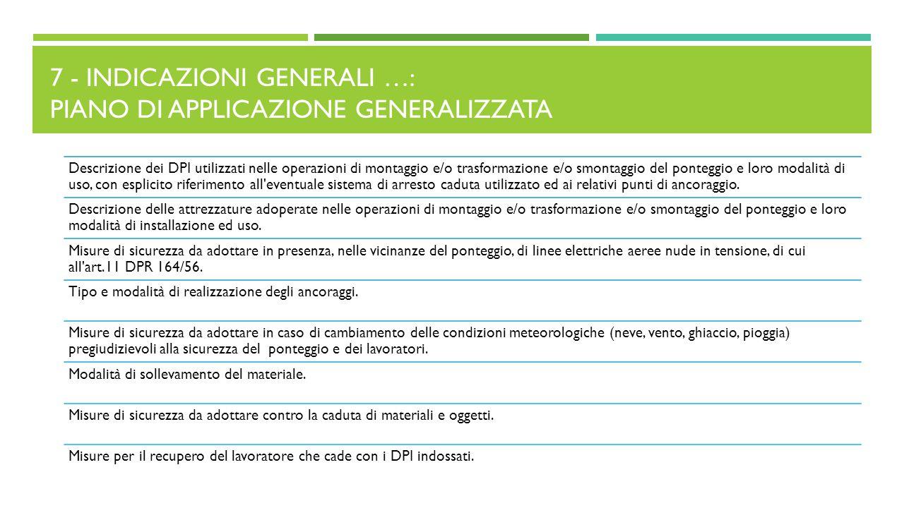 7 - Indicazioni generali …: Piano di applicazione generalizzata