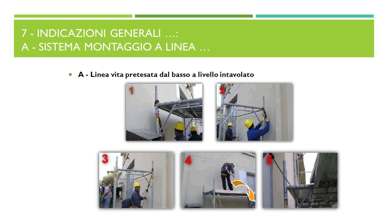 7 - Indicazioni generali …: A - Sistema montaggio a linea …
