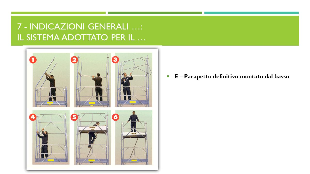 7 - Indicazioni generali …: Il sistema adottato per il …