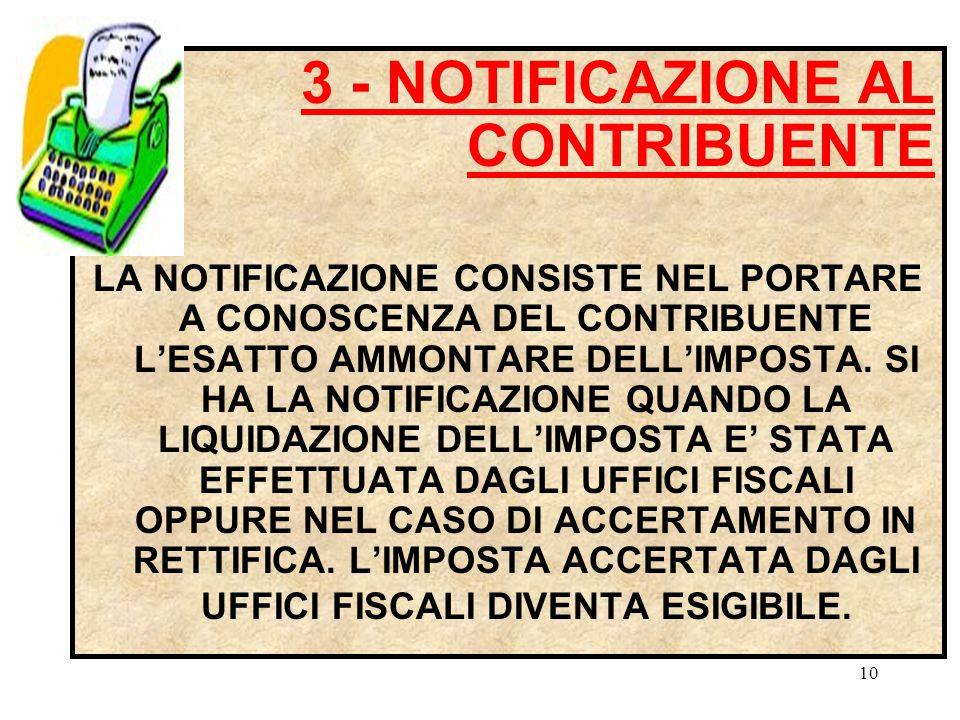 3 - NOTIFICAZIONE AL CONTRIBUENTE