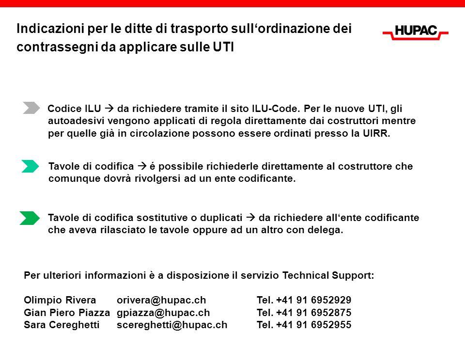 Indicazioni per le ditte di trasporto sull'ordinazione dei contrassegni da applicare sulle UTI
