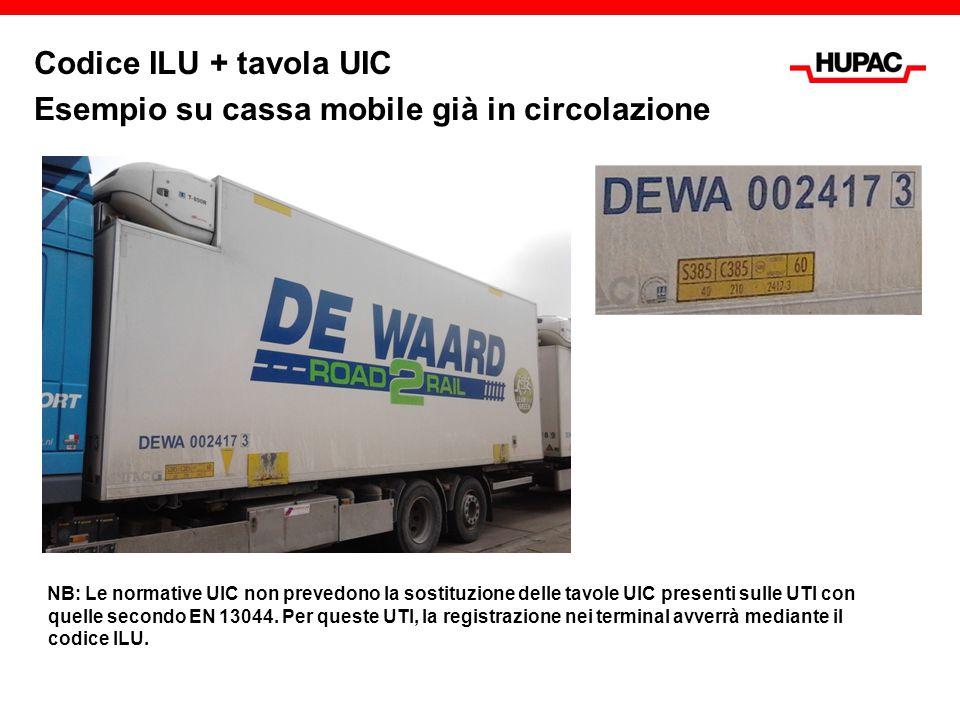 Codice ILU + tavola UIC Esempio su cassa mobile già in circolazione