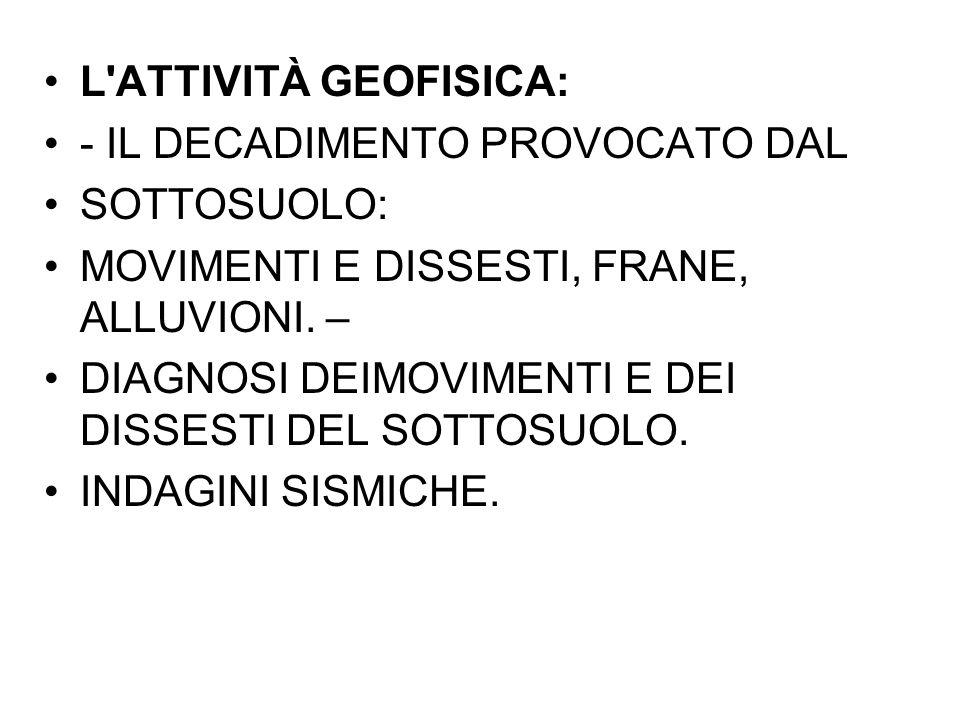L ATTIVITÀ GEOFISICA: - IL DECADIMENTO PROVOCATO DAL. SOTTOSUOLO: MOVIMENTI E DISSESTI, FRANE, ALLUVIONI. –