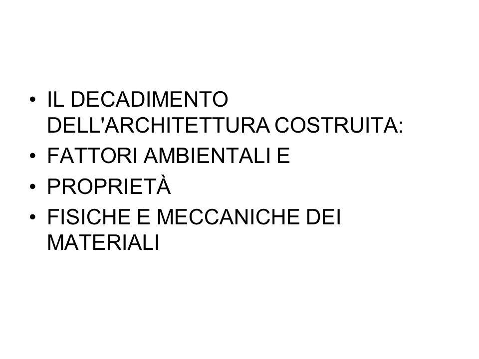 IL DECADIMENTO DELL ARCHITETTURA COSTRUITA: