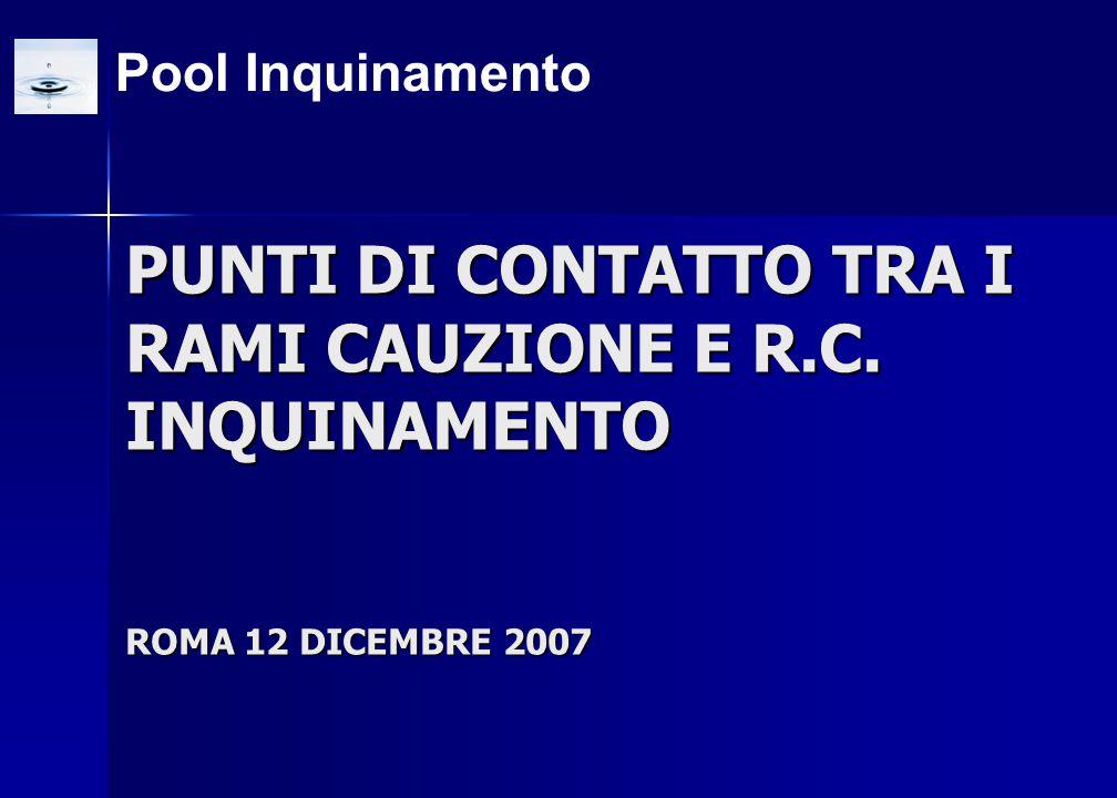 Pool Inquinamento PUNTI DI CONTATTO TRA I RAMI CAUZIONE E R.C. INQUINAMENTO ROMA 12 DICEMBRE 2007