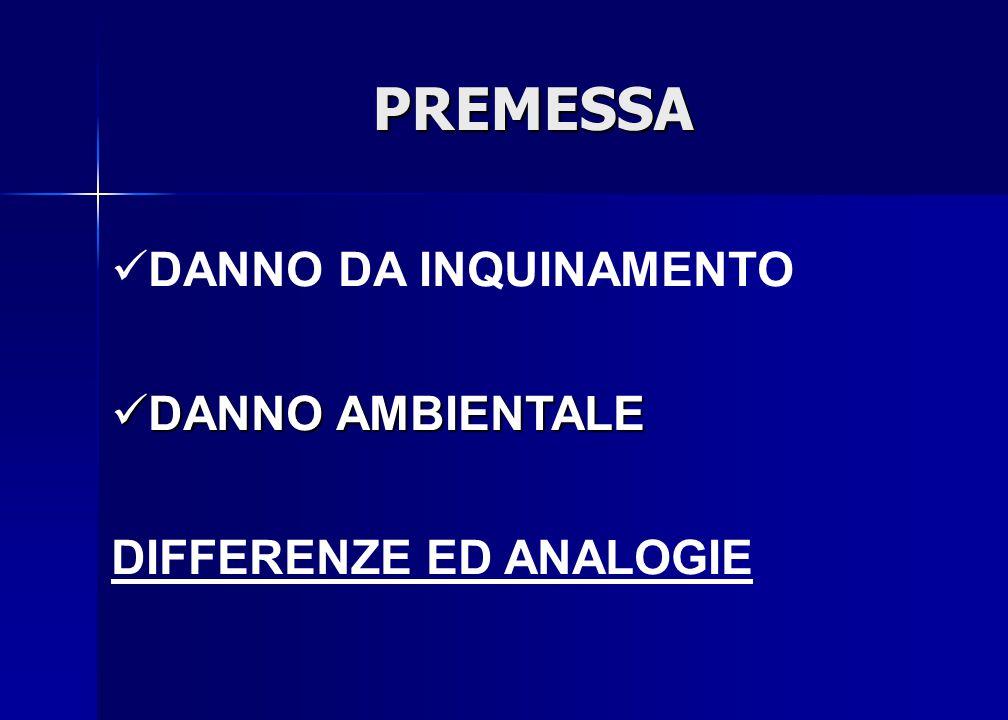 PREMESSA DANNO DA INQUINAMENTO DANNO AMBIENTALE DIFFERENZE ED ANALOGIE