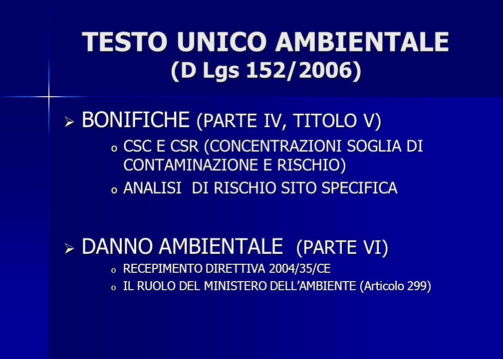 TESTO UNICO AMBIENTALE (D Lgs 152/2006)