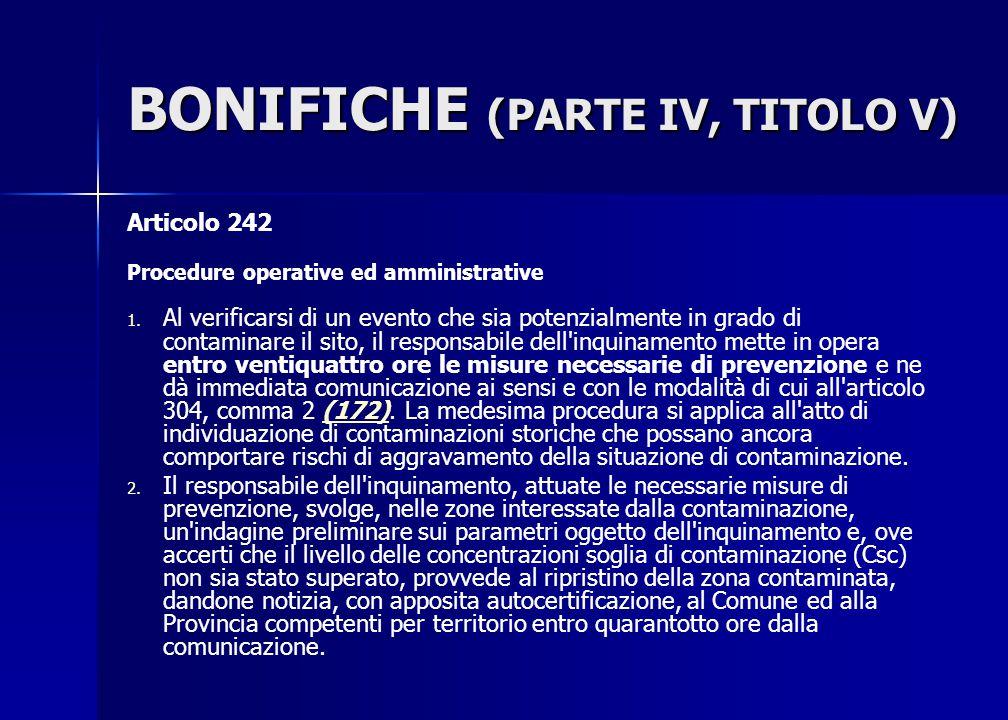 BONIFICHE (PARTE IV, TITOLO V)
