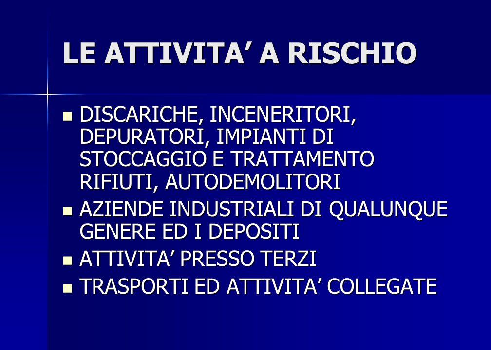 LE ATTIVITA' A RISCHIO DISCARICHE, INCENERITORI, DEPURATORI, IMPIANTI DI STOCCAGGIO E TRATTAMENTO RIFIUTI, AUTODEMOLITORI.