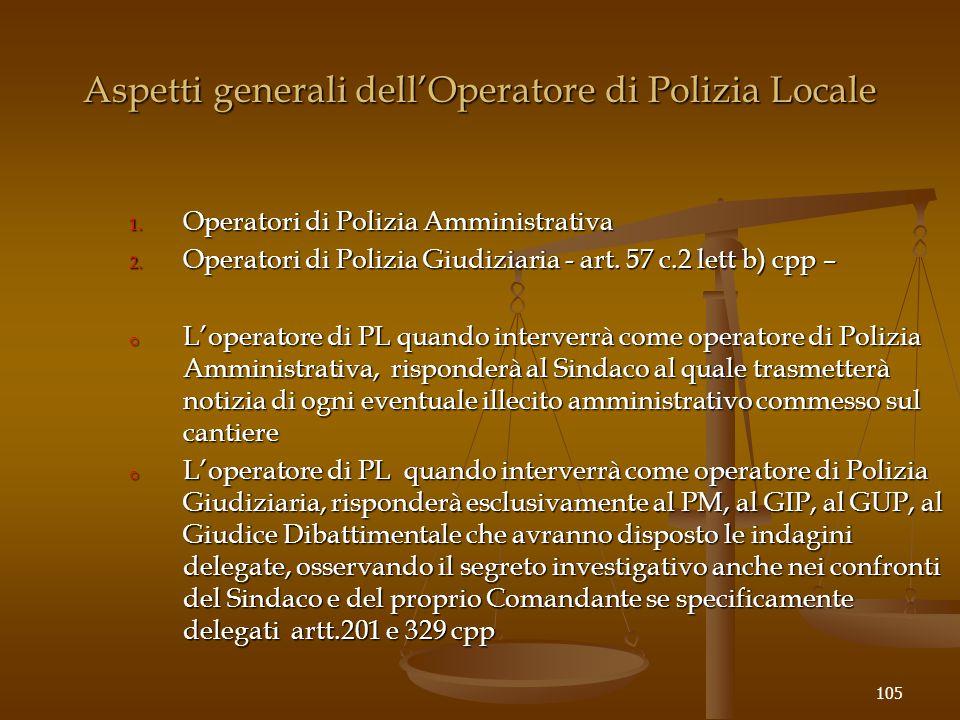 Aspetti generali dell'Operatore di Polizia Locale