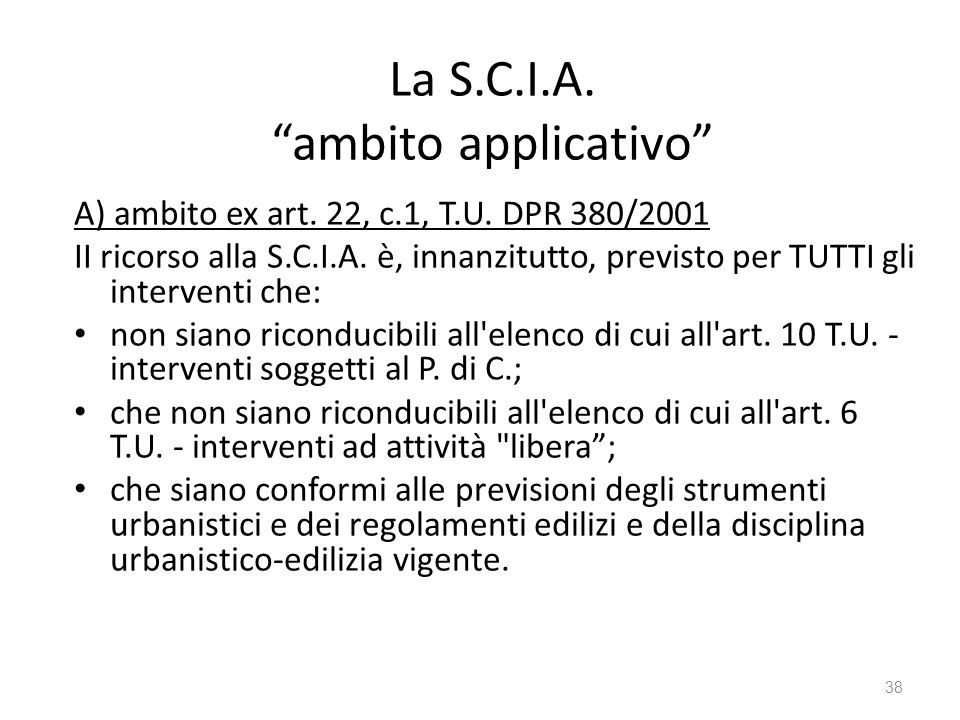 La S.C.I.A. ambito applicativo