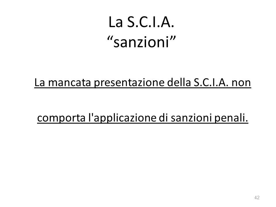 La S.C.I.A. sanzioni La mancata presentazione della S.C.I.A.