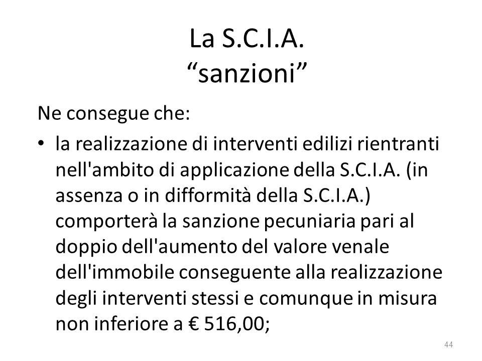 La S.C.I.A. sanzioni Ne consegue che:
