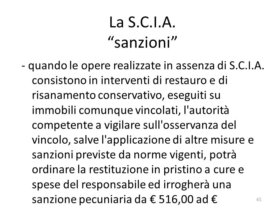 La S.C.I.A. sanzioni