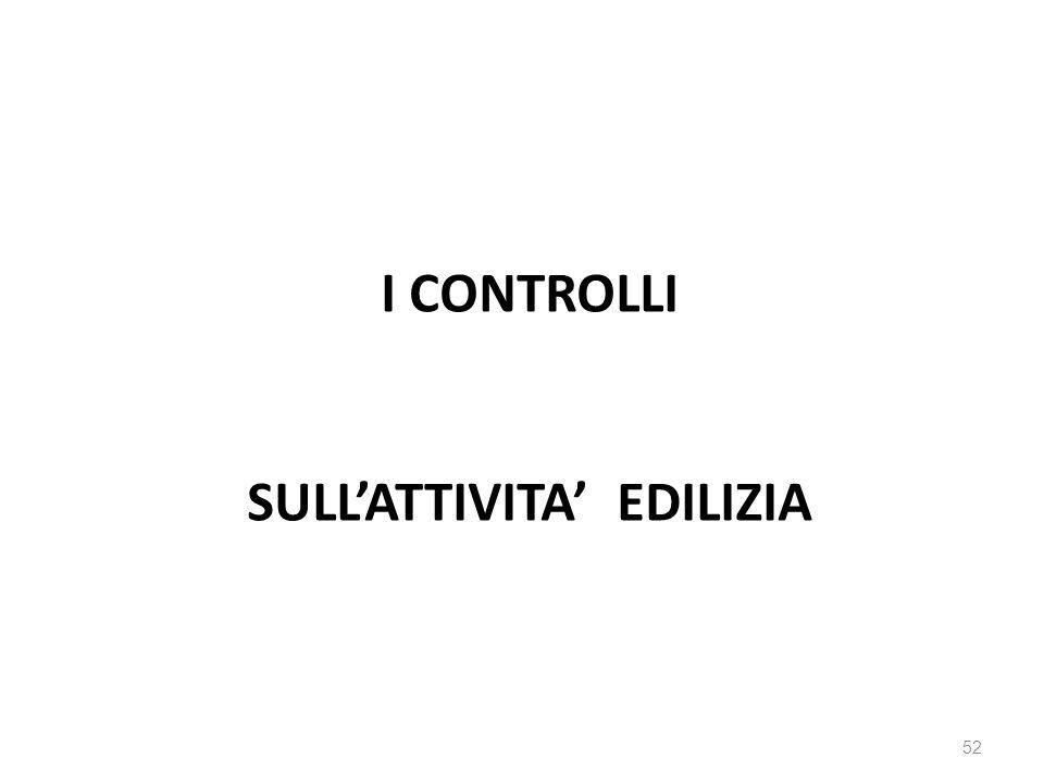 I CONTROLLI SULl'attivita' edilizia