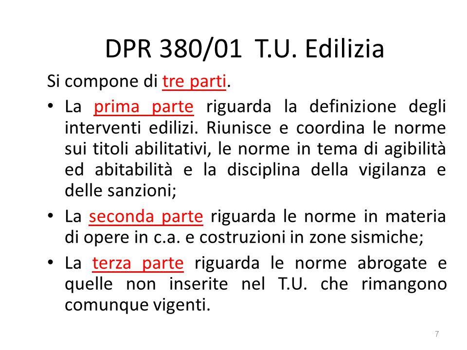DPR 380/01 T.U. Edilizia Si compone di tre parti.