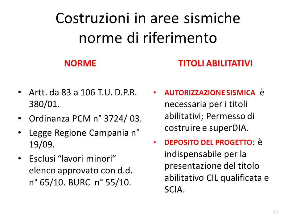 Costruzioni in aree sismiche norme di riferimento