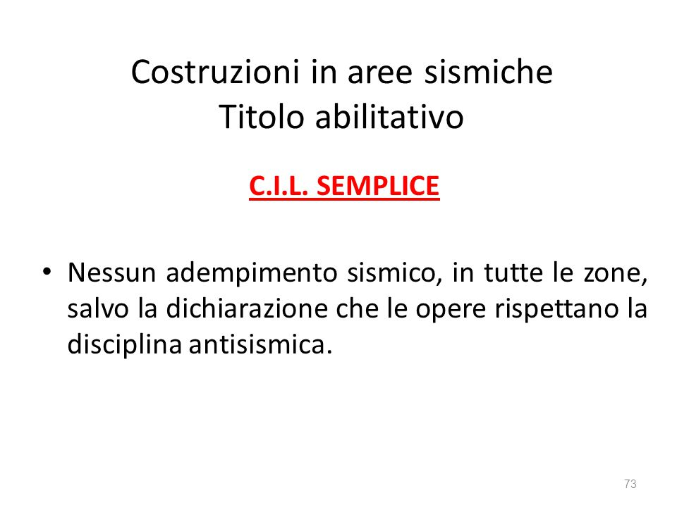 Costruzioni in aree sismiche Titolo abilitativo