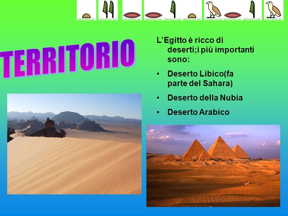TERRITORIO L'Egitto è ricco di deserti;i più importanti sono: