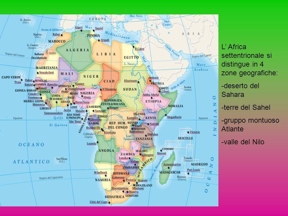 L' Africa settentrionale si distingue in 4 zone geografiche: