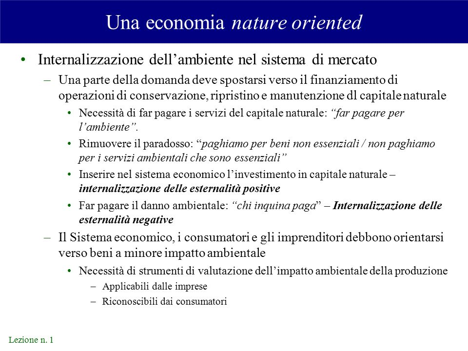 Una economia nature oriented