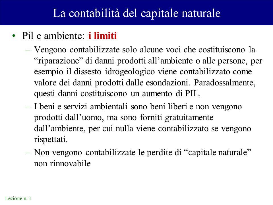 La contabilità del capitale naturale