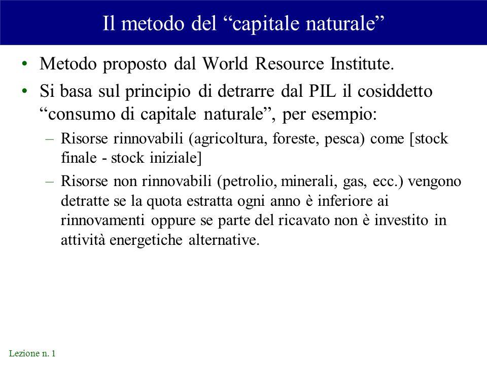 Il metodo del capitale naturale