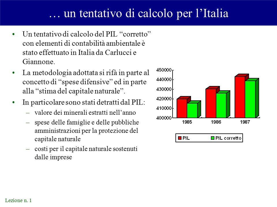 … un tentativo di calcolo per l'Italia
