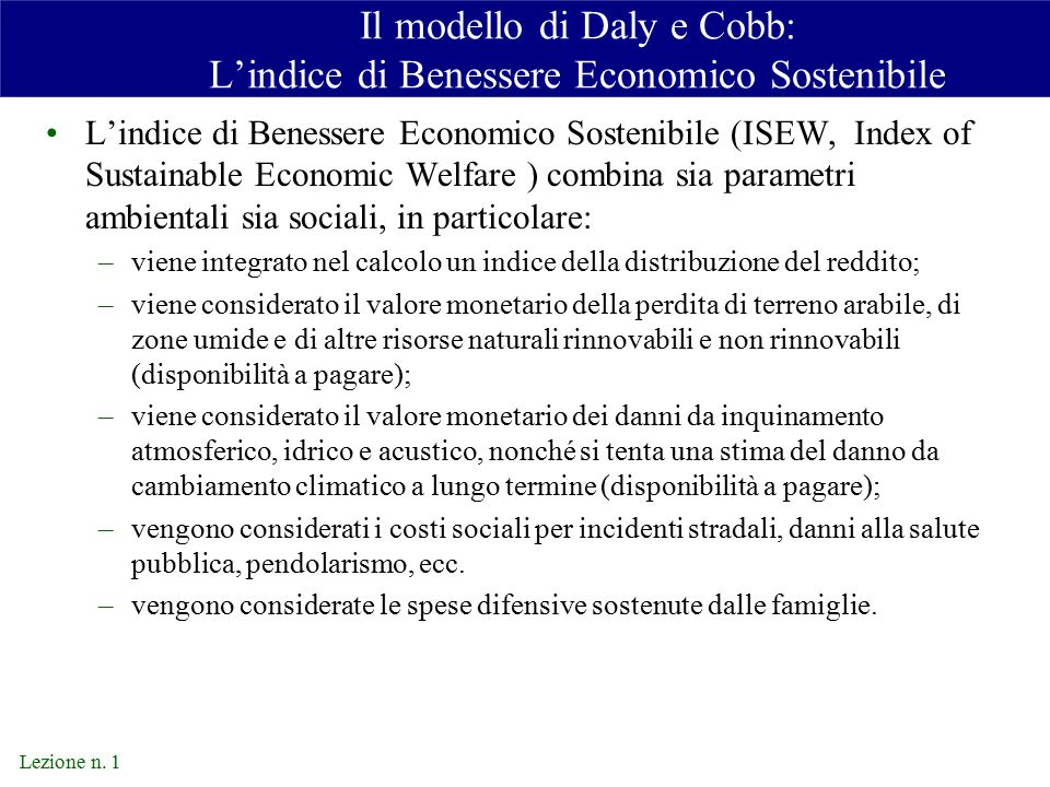Il modello di Daly e Cobb: L'indice di Benessere Economico Sostenibile