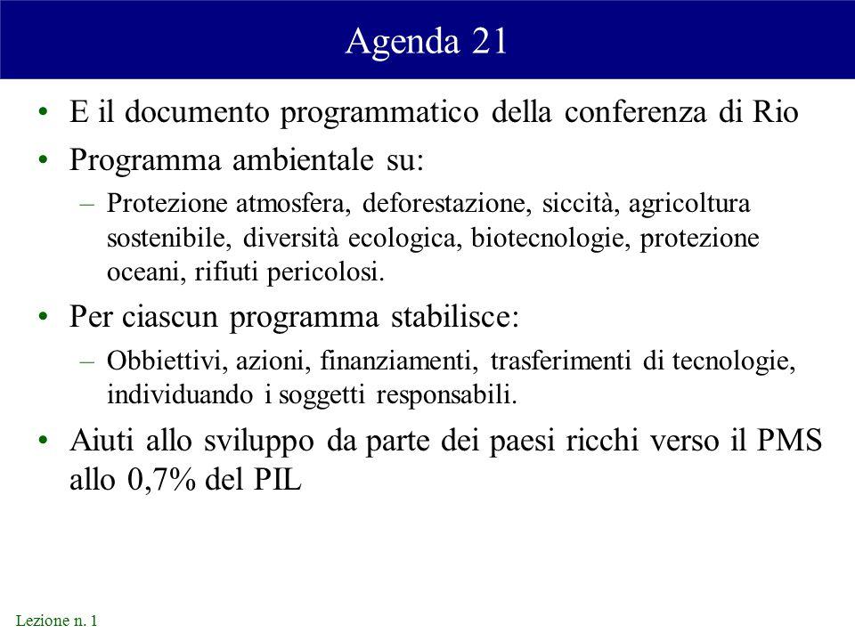 Agenda 21 E il documento programmatico della conferenza di Rio