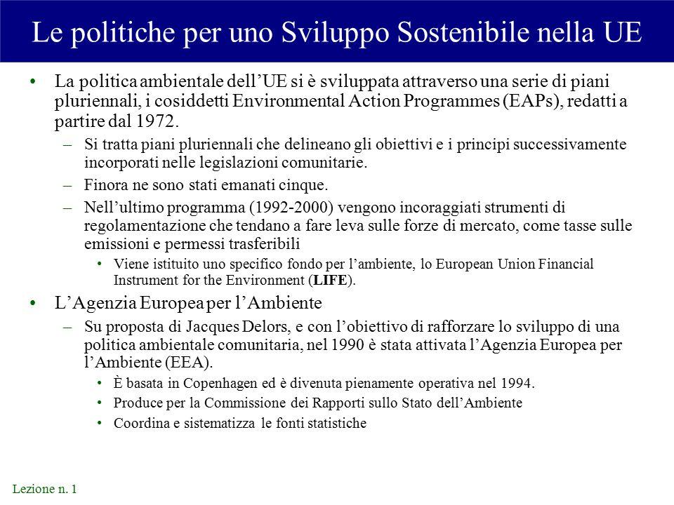 Le politiche per uno Sviluppo Sostenibile nella UE