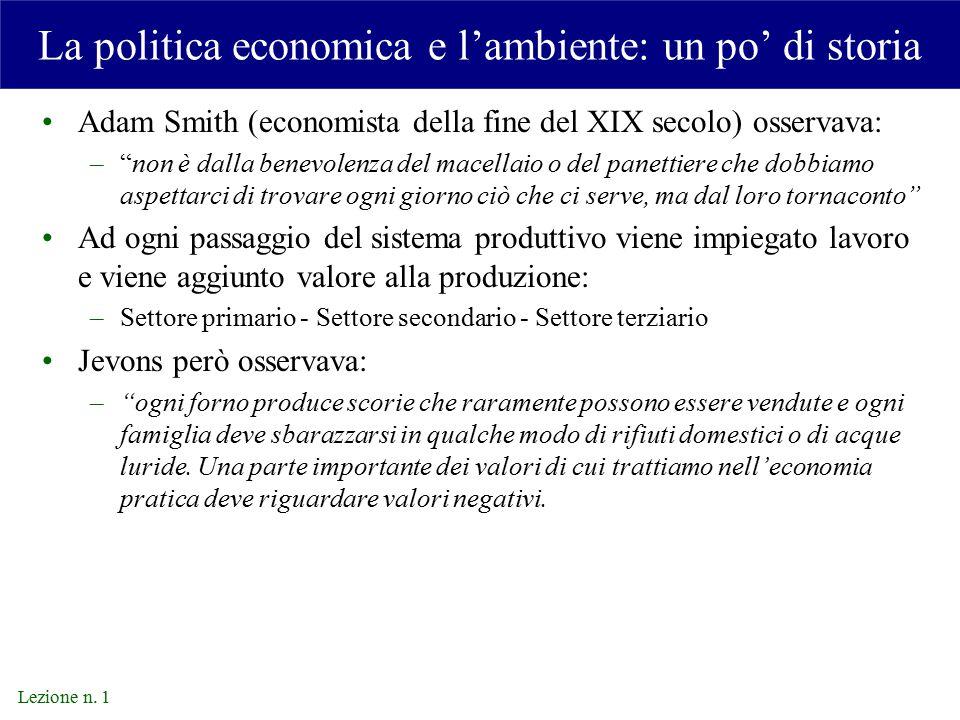 La politica economica e l'ambiente: un po' di storia