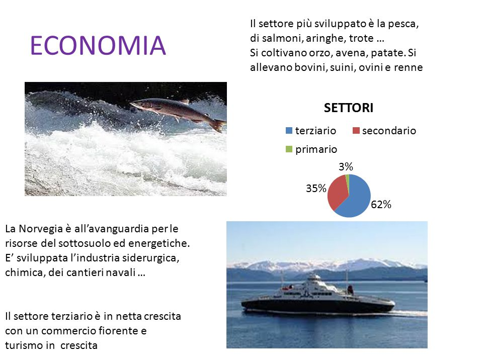 ECONOMIA Il settore più sviluppato è la pesca, di salmoni, aringhe, trote …
