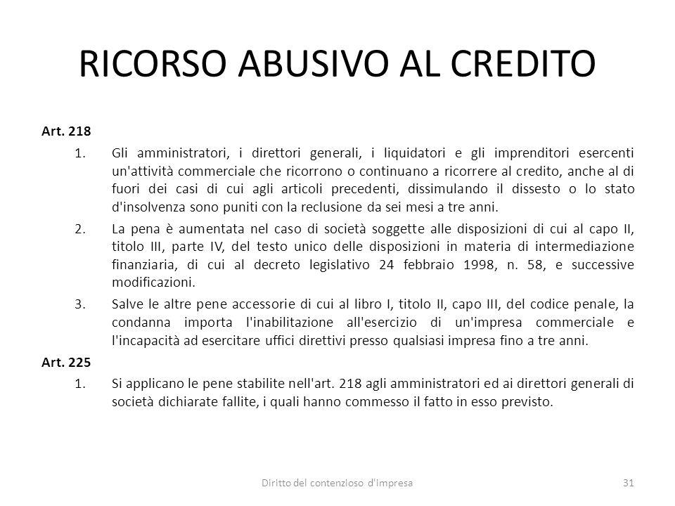 RICORSO ABUSIVO AL CREDITO
