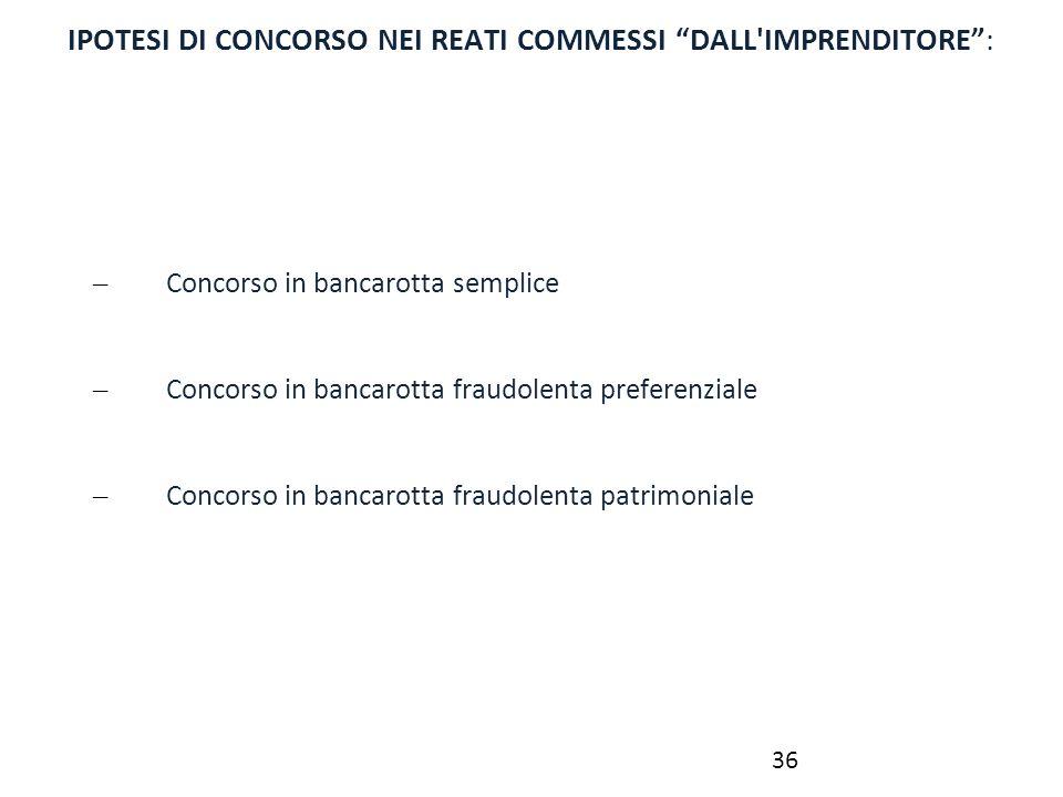 IPOTESI DI CONCORSO NEI REATI COMMESSI DALL IMPRENDITORE :