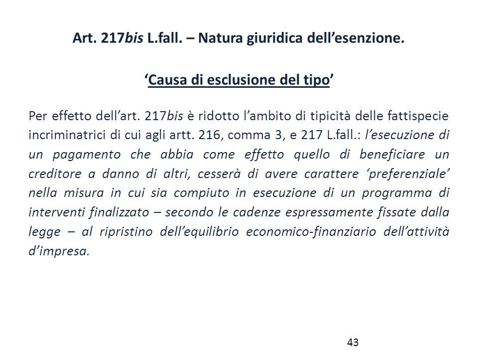 Art. 217bis L.fall. – Natura giuridica dell'esenzione.