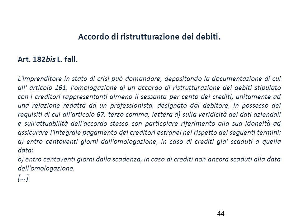 Accordo di ristrutturazione dei debiti.