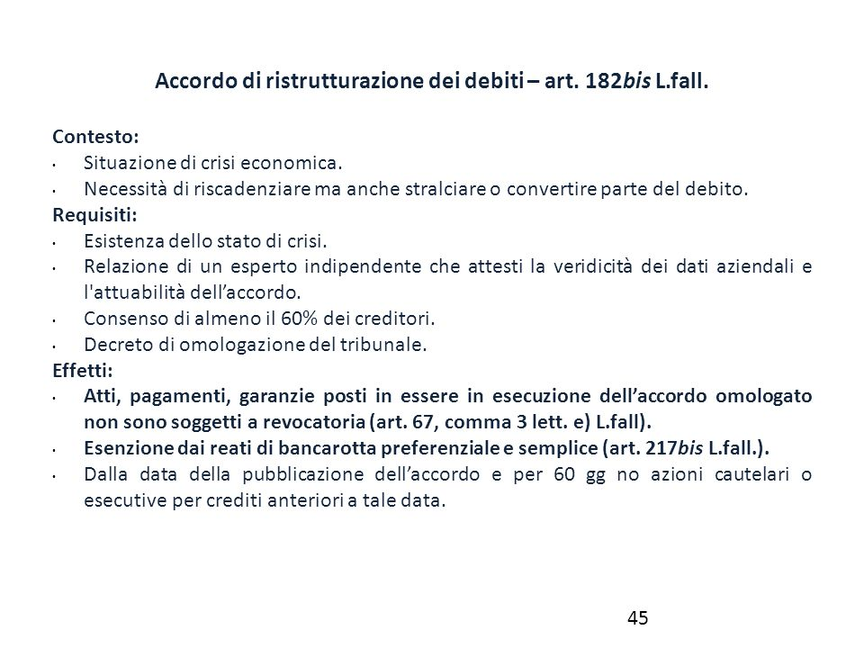 Accordo di ristrutturazione dei debiti – art. 182bis L.fall.