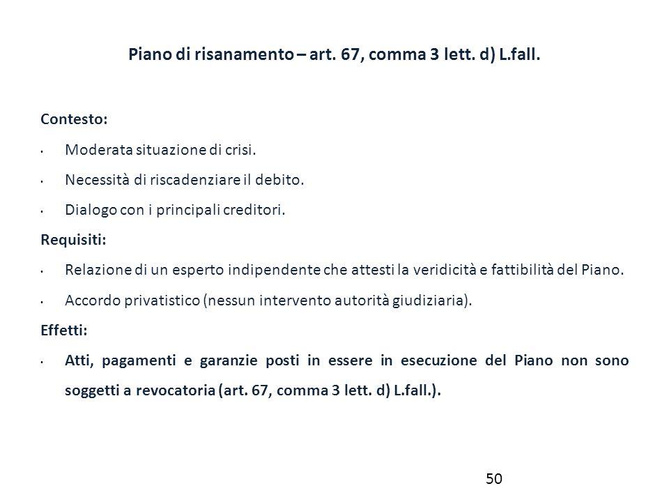 Piano di risanamento – art. 67, comma 3 lett. d) L.fall.