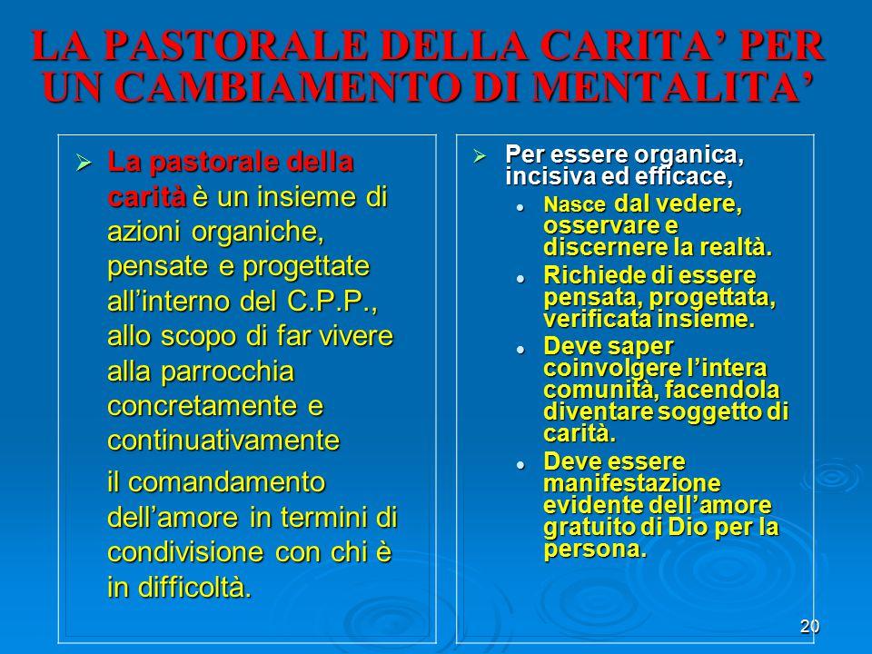 LA PASTORALE DELLA CARITA' PER UN CAMBIAMENTO DI MENTALITA'