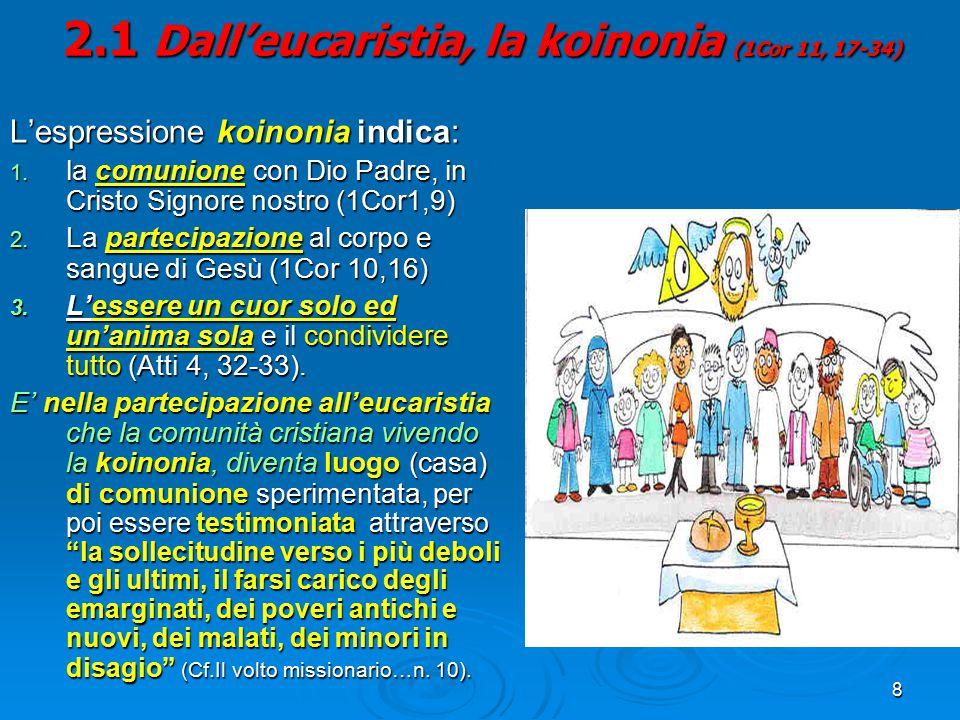 2.1 Dall'eucaristia, la koinonia (1Cor 11, 17-34)