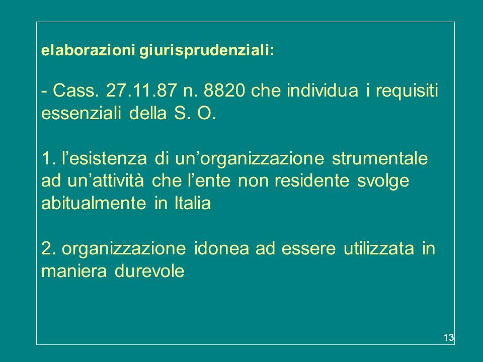 elaborazioni giurisprudenziali: - Cass. 27. 11. 87 n