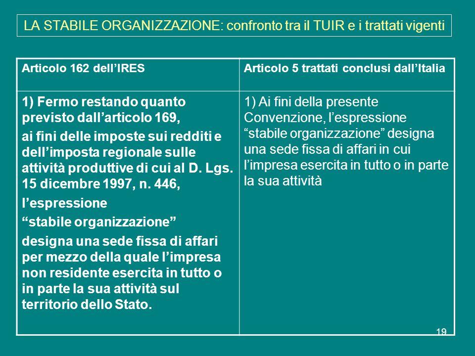 LA STABILE ORGANIZZAZIONE: confronto tra il TUIR e i trattati vigenti