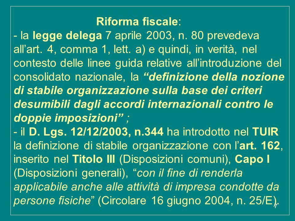 Riforma fiscale: - la legge delega 7 aprile 2003, n